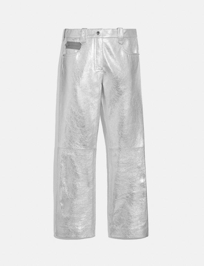 Coach Metallic Leather Pants Silver Women Ready-to-Wear Bottoms