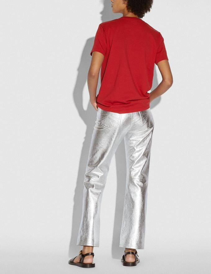Coach Metallic Leather Pants Silver Women Ready-to-Wear Bottoms Alternate View 2