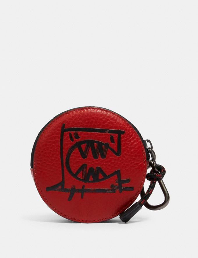 Coach Round Hybrid Pouch With Rexy by Guang Yu Qb/Crimson Black
