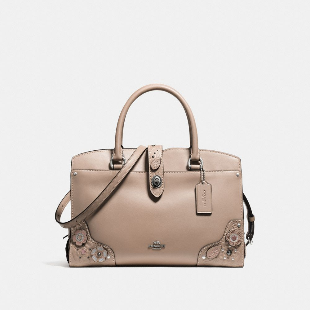 Coach Mercer Satchel 30 With Painted Tea Rose and Tooling