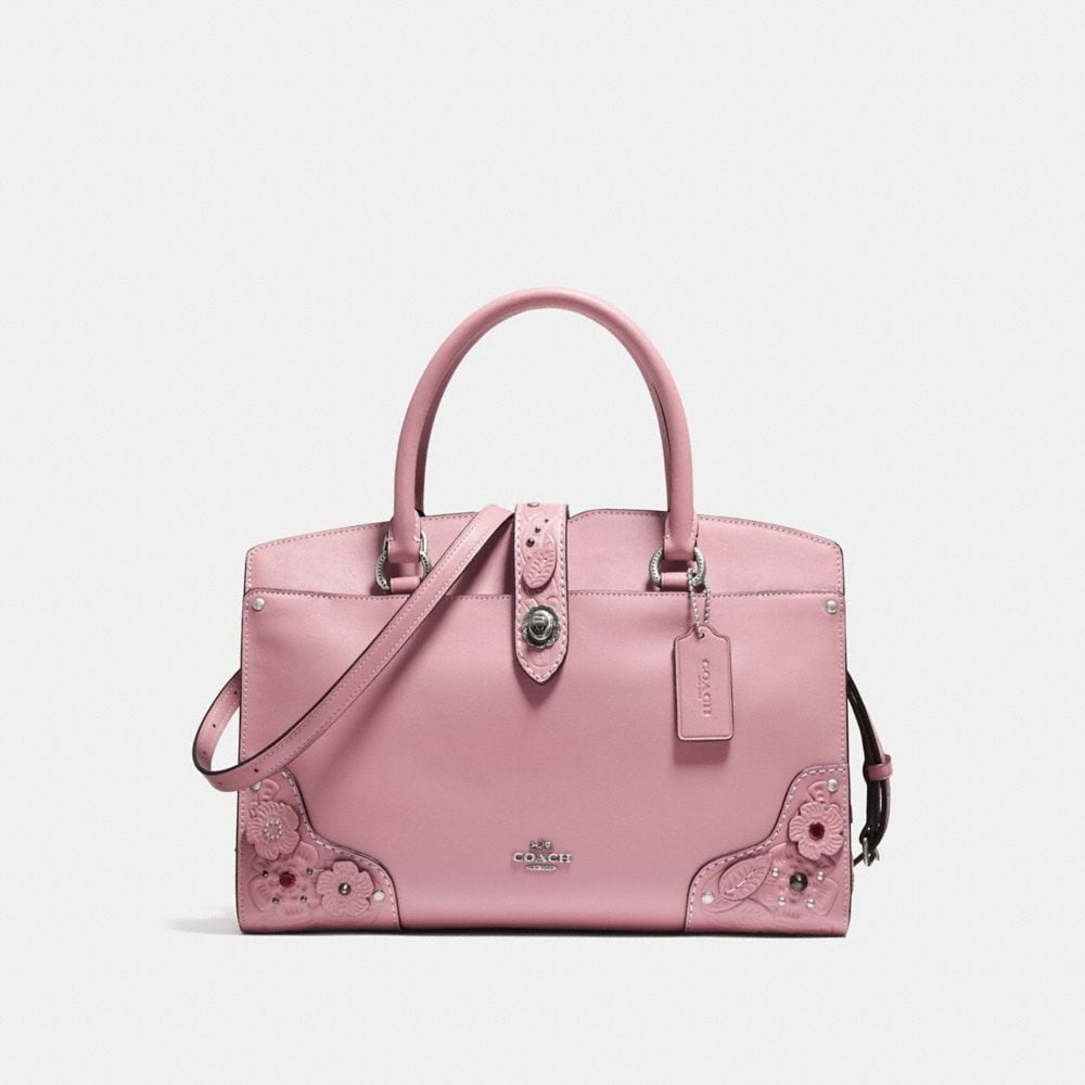 MERCER SATCHEL 30 IN GLOVETANNED LEATHER WITH TEA ROSE AND TOOLING