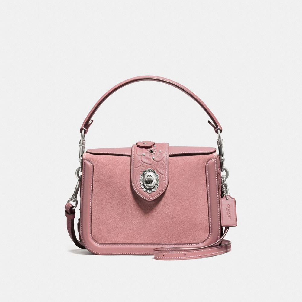 PAGE CROSSBODY IN GLOVETANNED LEATHER WITH TEA ROSE TOOLING