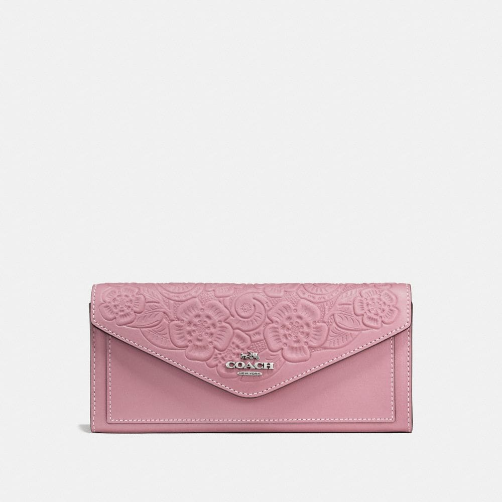 SOFT WALLET WITH TEA ROSE TOOLING