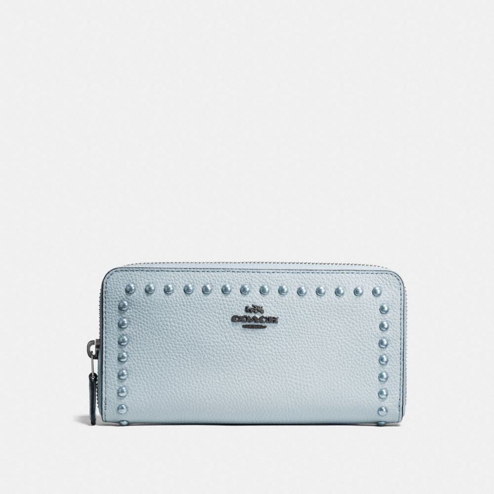 ACCORDION ZIP WALLET IN POLISHED PEBBLE LEATHER WITH LACQUER RIVETS