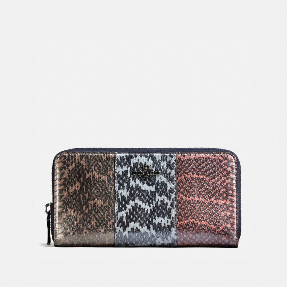 Coach Accordion Zip Wallet in Striped Mixed Snakeskin