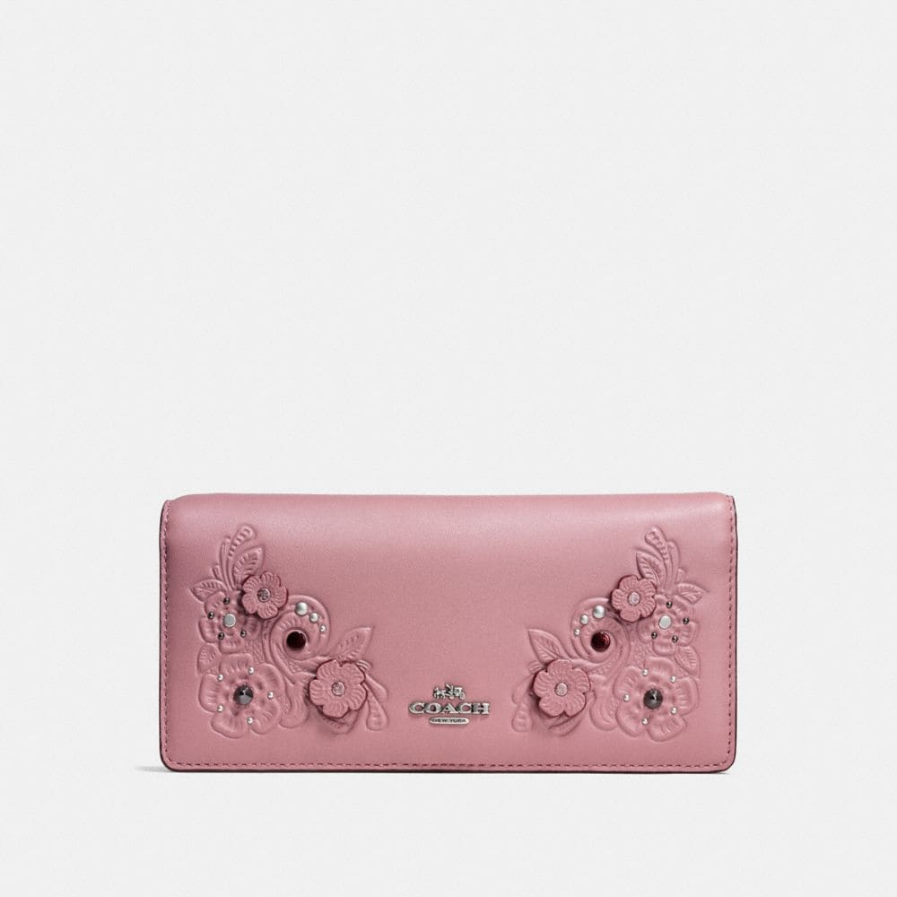SLIM WALLET WITH TEA ROSE AND TOOLING