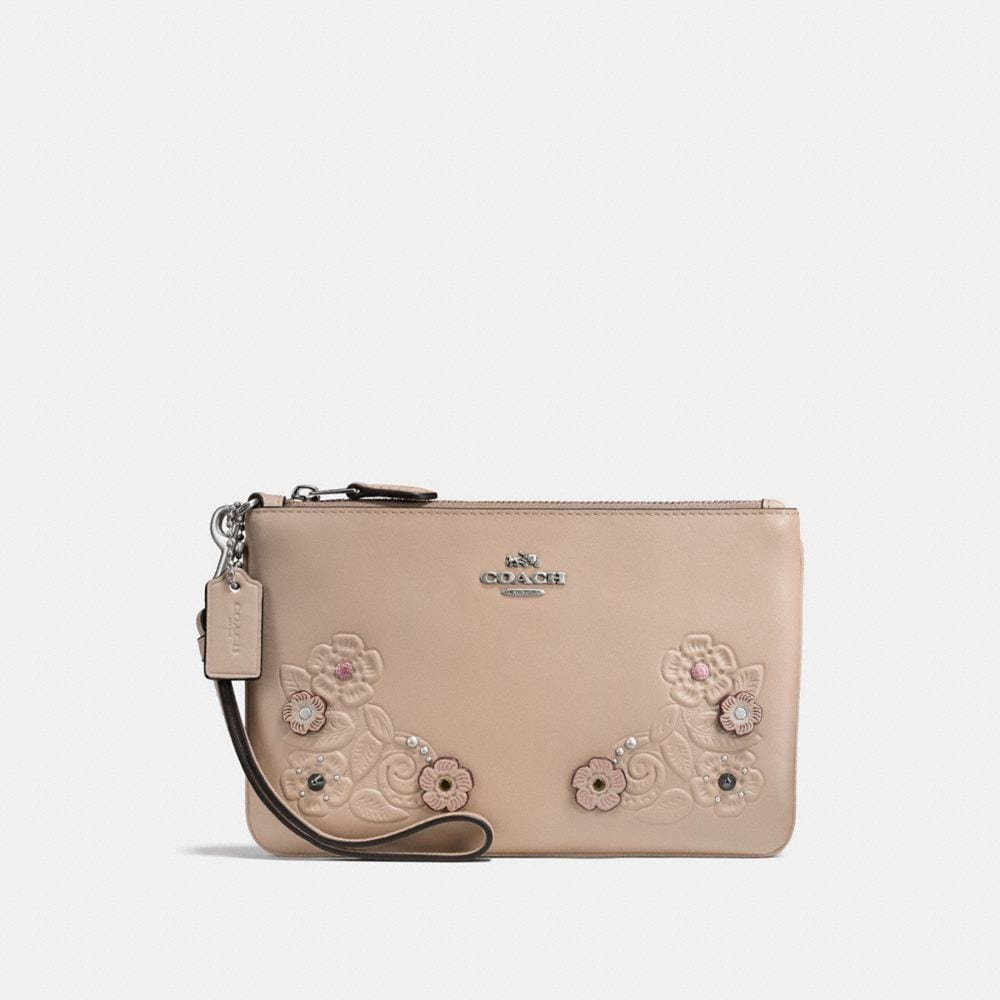 Coach Small Wristlet With Tea Rose and Tooling