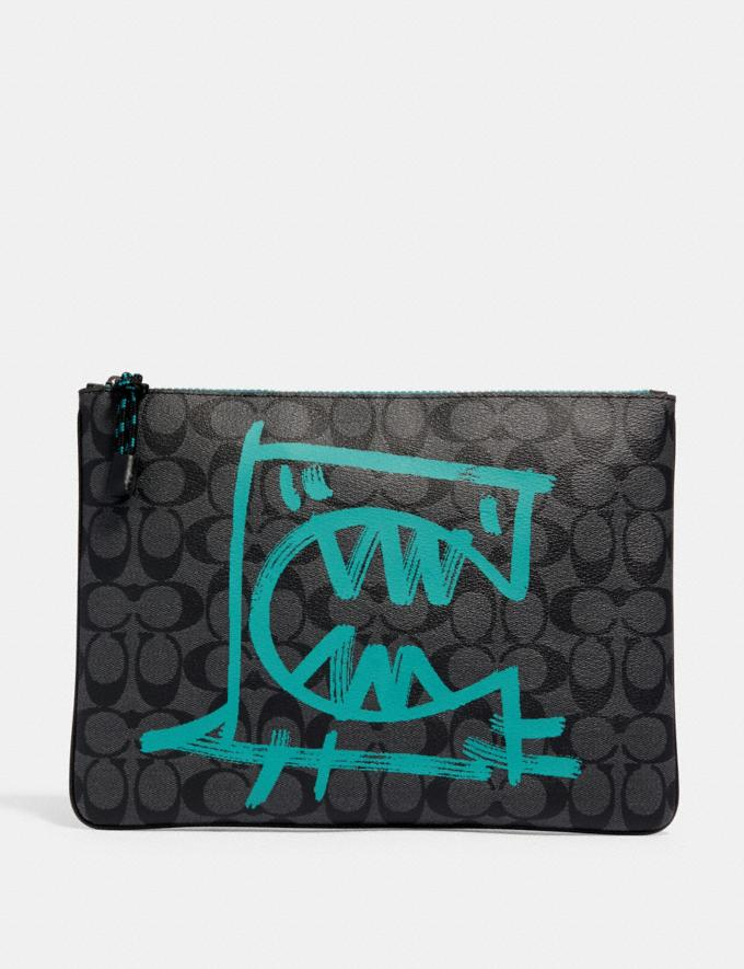 Coach Large Pouch in Signature Canvas With Rexy by Guang Yu Qb/Charcoal Blue Green