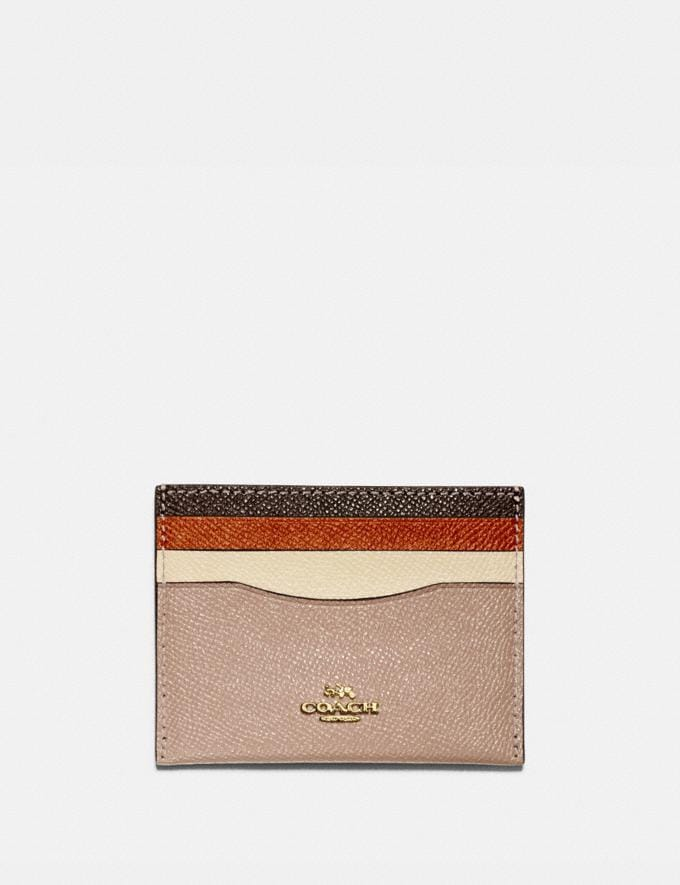 Coach Card Case in Colorblock Brass/Taupe Ginger Multi Women Edits Weekend