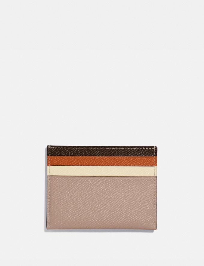 Coach Card Case in Colorblock Brass/Taupe Ginger Multi Women Small Leather Goods Card Cases Alternate View 1