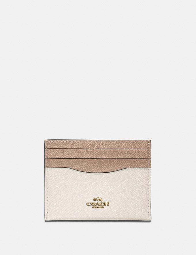 Coach Card Case in Colorblock B4/Chalk Taupe Multi Women Small Leather Goods Card Cases