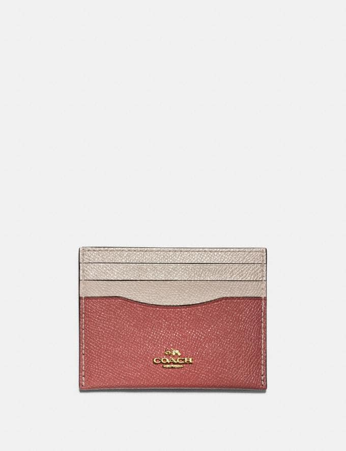 Coach Card Case in Colorblock Light Peach Multi/Gold Women Edits Summer Picks