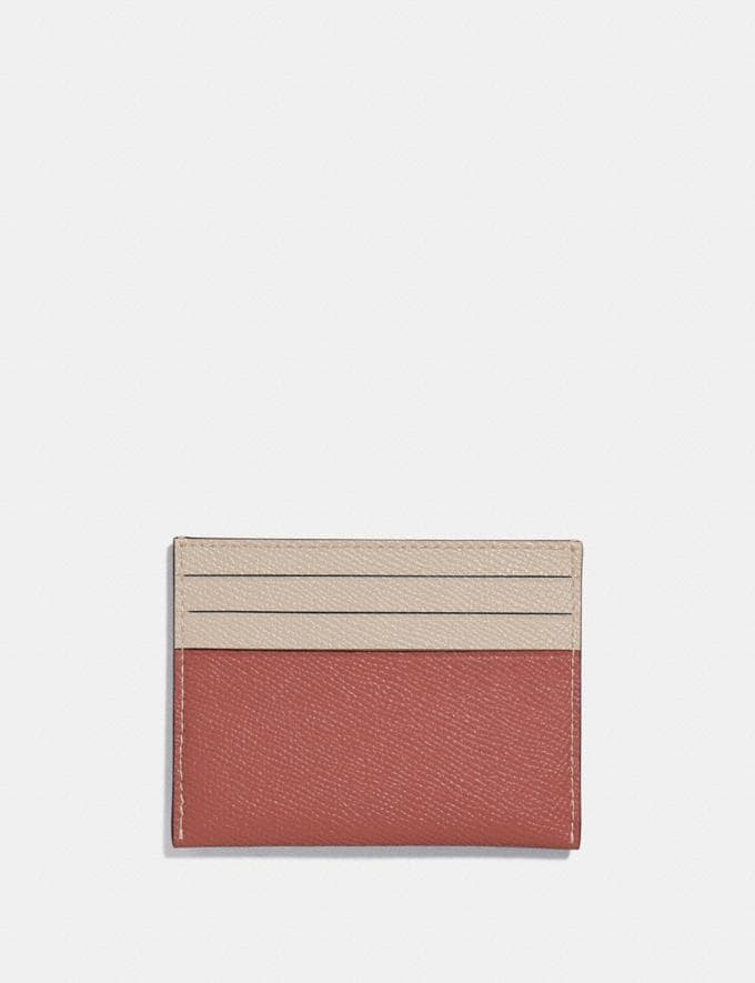 Coach Card Case in Colorblock Light Peach Multi/Gold Women Edits Summer Picks Alternate View 1