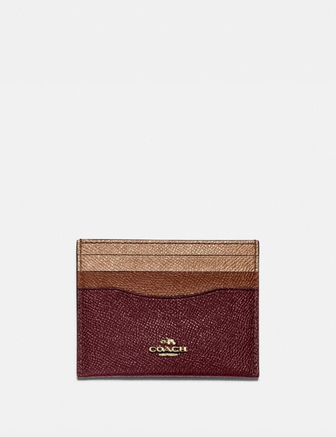 Coach Card Case in Colorblock Vintage Mauve Multi/Gold Women Small Leather Goods Card Cases