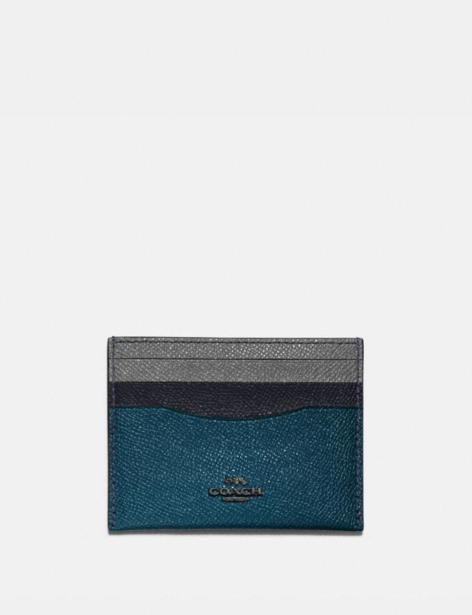 Coach Card Case in Colorblock Gm/Peacock Multi Women Small Leather Goods Card Cases