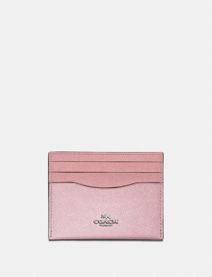 Coach Card Case in Colorblock Light Blush Multi/Silver Gifts For Her Under £100