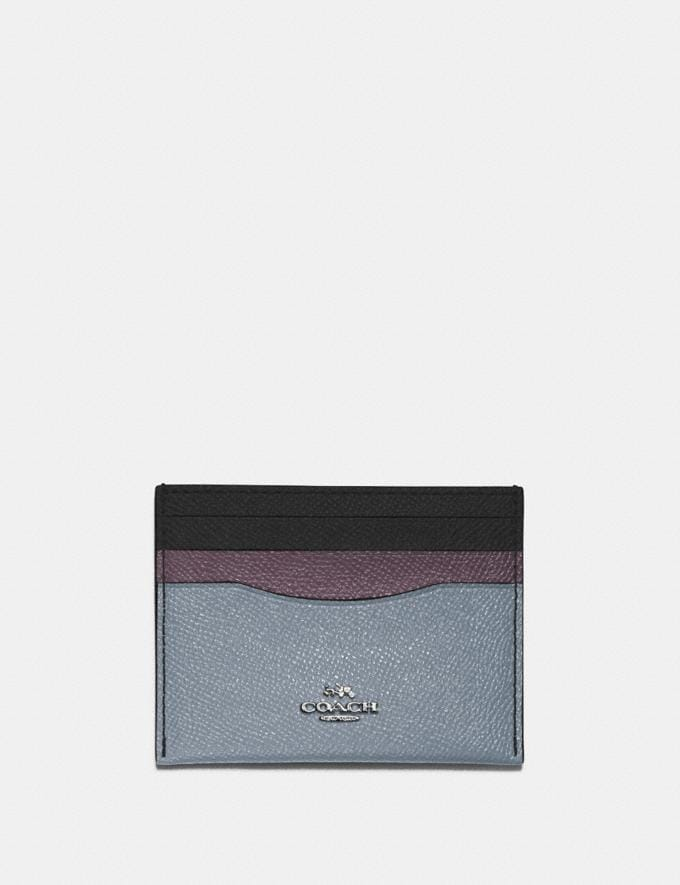 Coach Card Case in Colorblock Silver/Mist Multi Women Small Leather Goods Card Cases