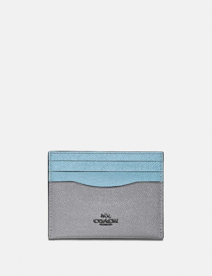 Coach Card Case in Colorblock Pewter/Granite Azure Multi New Women's New Arrivals Small Leather Goods