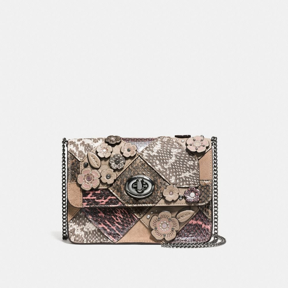 BOWERY CROSSBODY WITH PATCHWORK SNAKESKIN