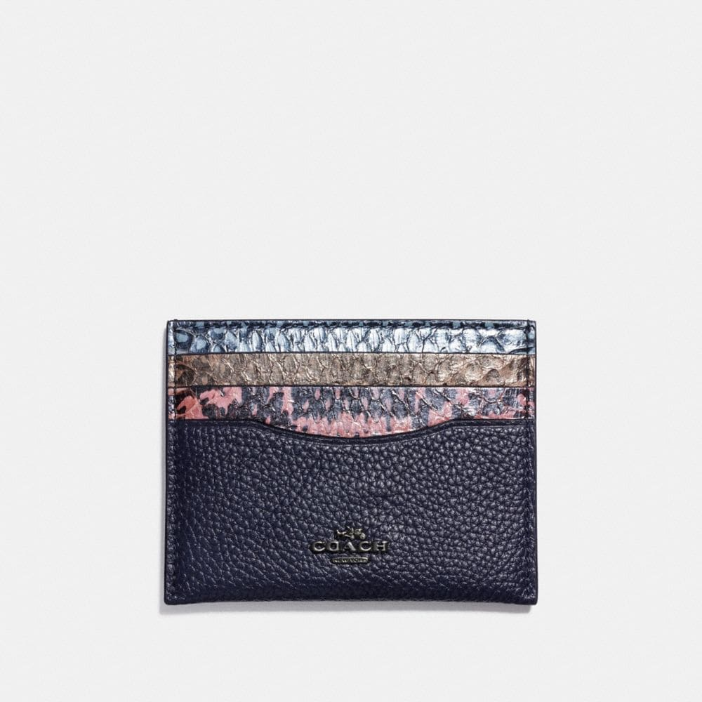 Coach Card Case in Striped Mixed Snakeskin