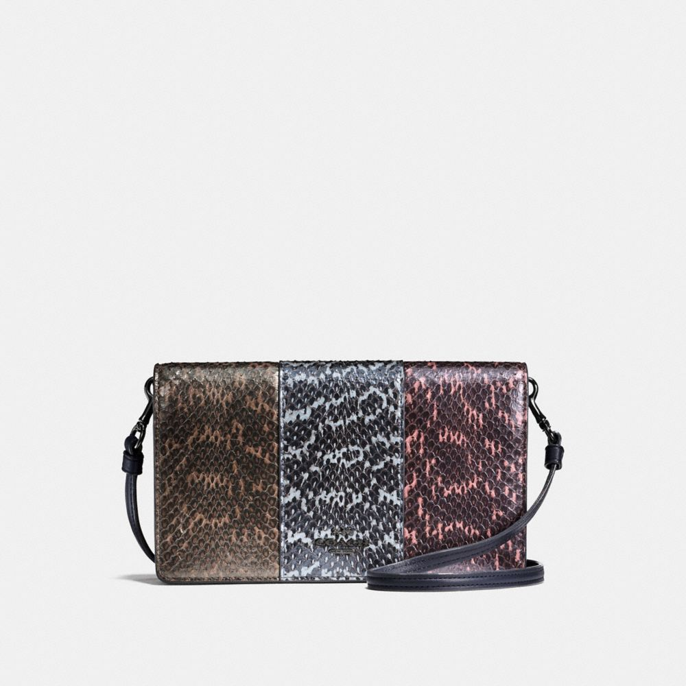 Coach Foldover Crossbody Clutch in Striped Mixed Snakeskin