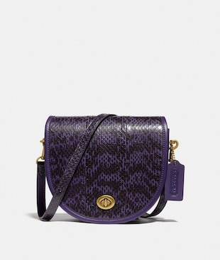 TURNLOCK SADDLE CROSSBODY IN SNAKESKIN