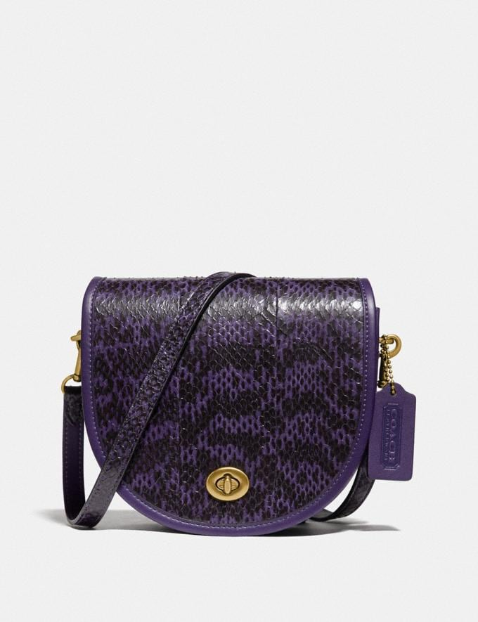 Coach Turnlock Saddle Crossbody in Snakeskin Brass/Royal Purple Gifts For Her Under $500