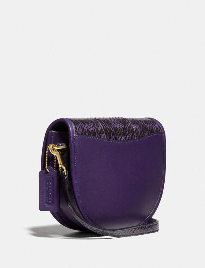 Coach Turnlock Saddle Crossbody in Snakeskin Brass/Royal Purple Gifts For Her Under $500 Alternate View 1