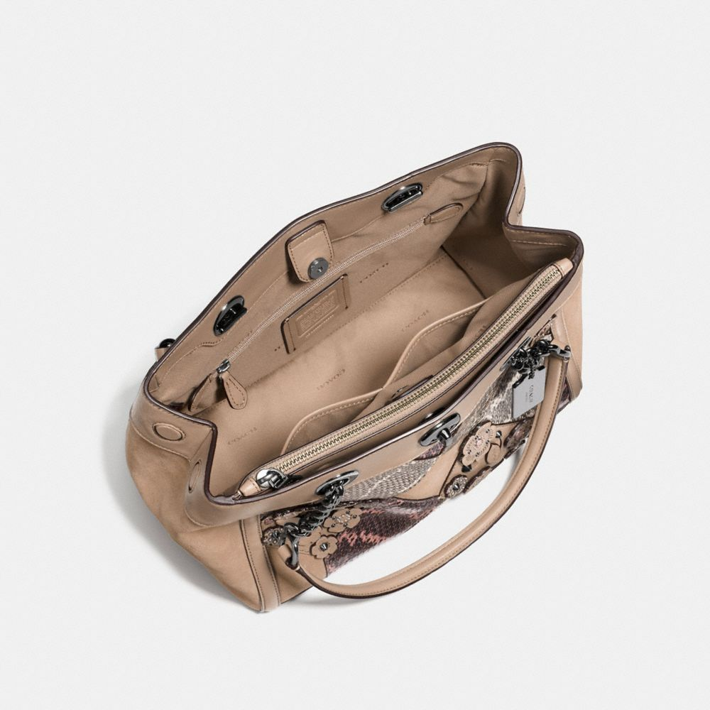 Coach Turnlock Edie Carryall With Patchwork Snakeskin Alternate View 2
