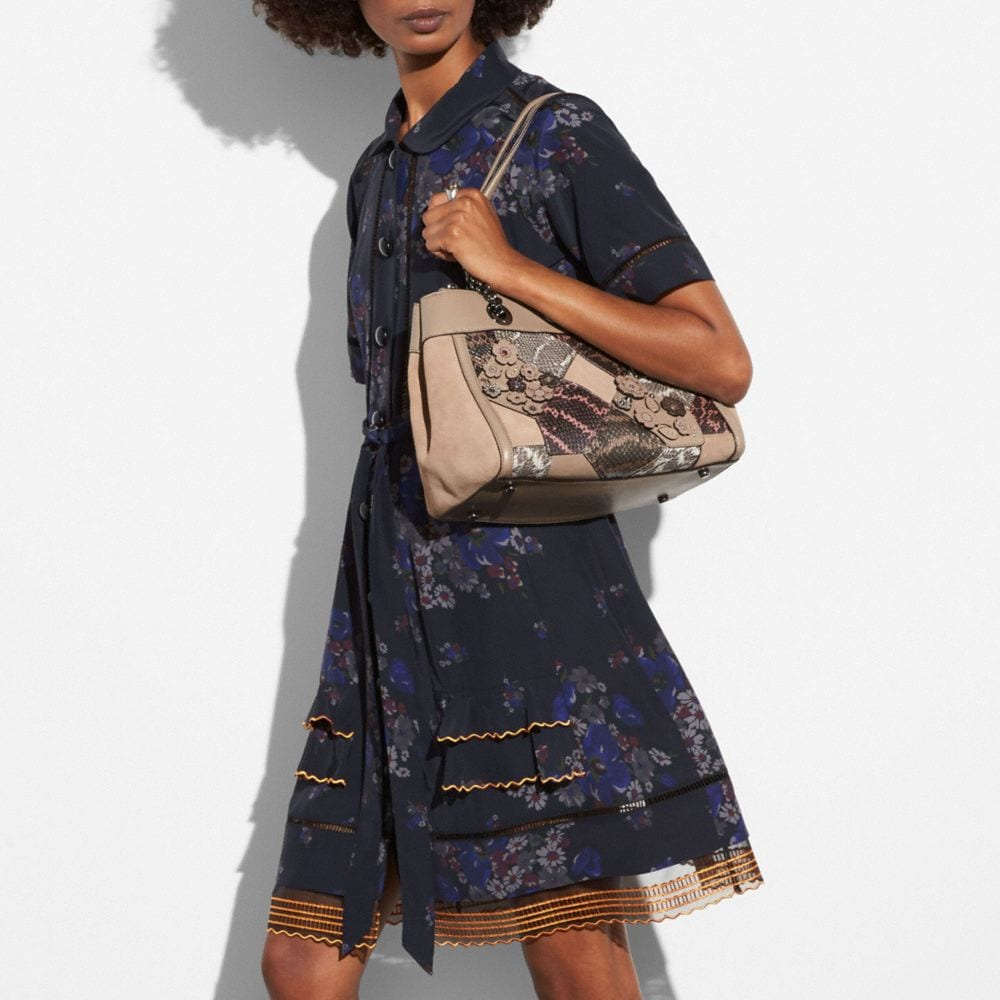 Coach Turnlock Edie Carryall With Patchwork Snakeskin Alternate View 3