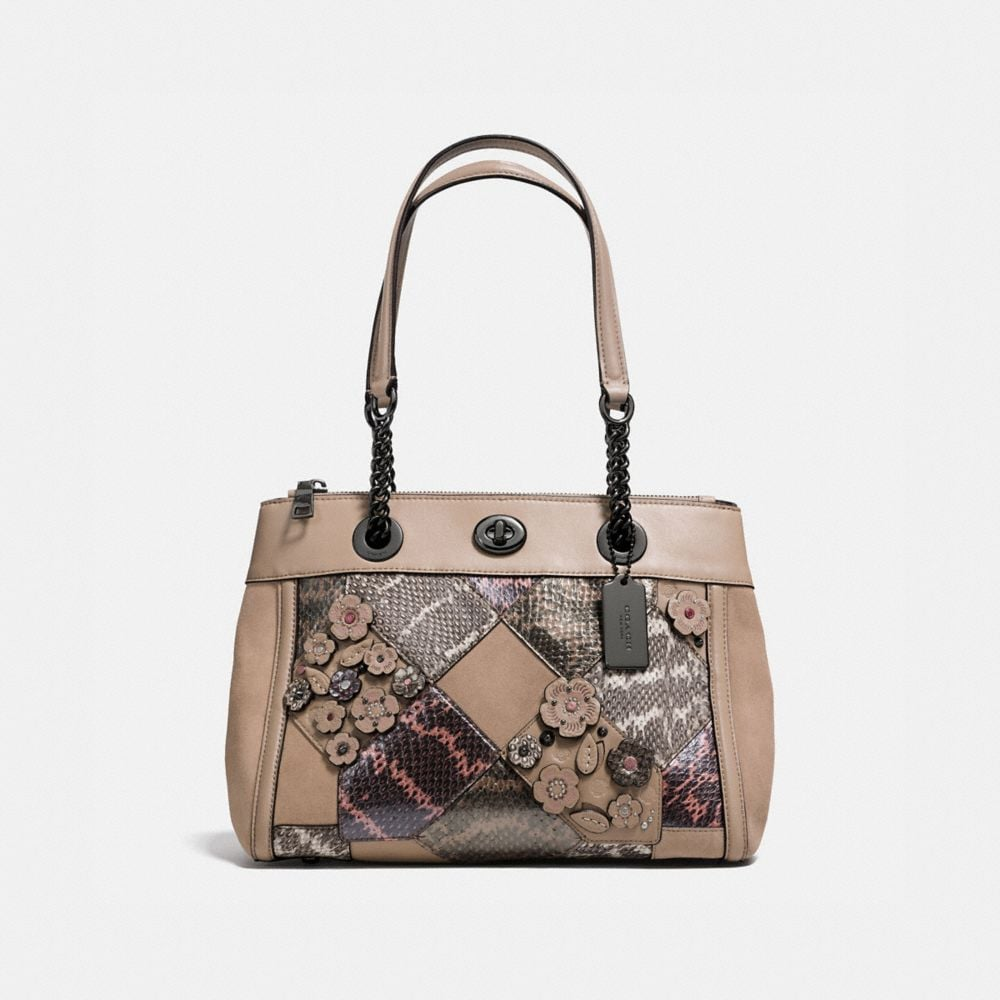 Coach Turnlock Edie Carryall With Patchwork Snakeskin