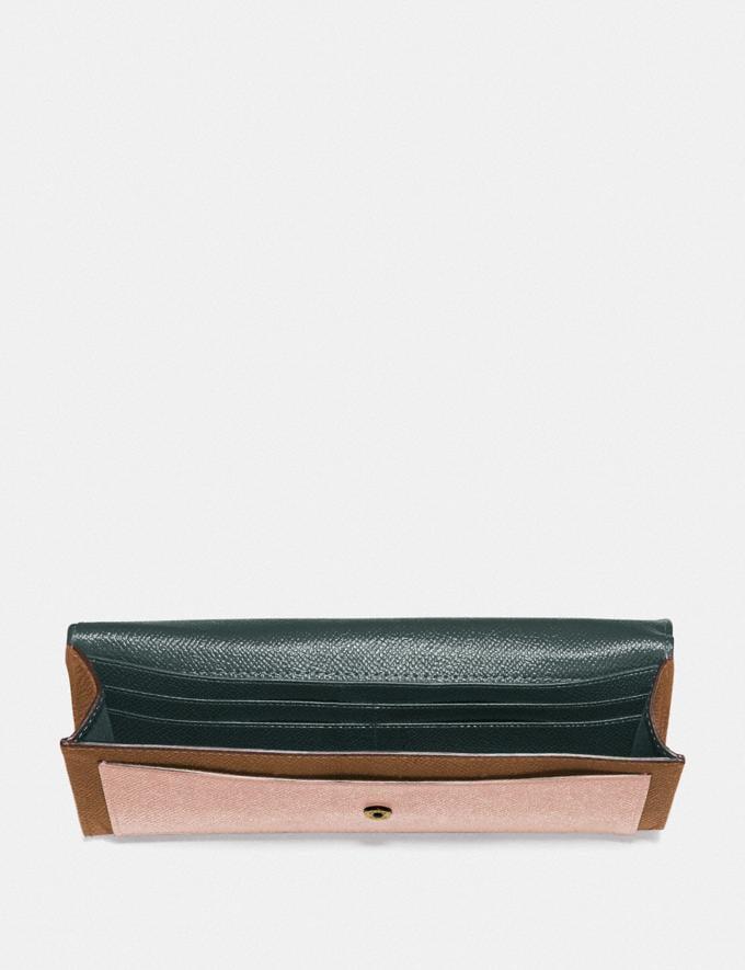 Coach Soft Wallet in Colorblock Brass/Pacific Blue Multi New Women's New Arrivals Wallets & Wristlets Alternate View 1
