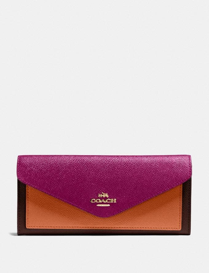 Coach Soft Wallet in Colorblock B4/Hibiscus Multi PRIVATE SALE Women's Sale Wallets & Wristlets