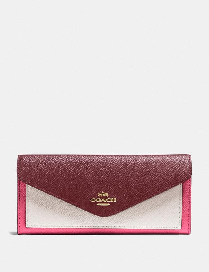 Coach Soft Wallet in Colorblock B4/Confetti Pink Multi New Women's New Arrivals