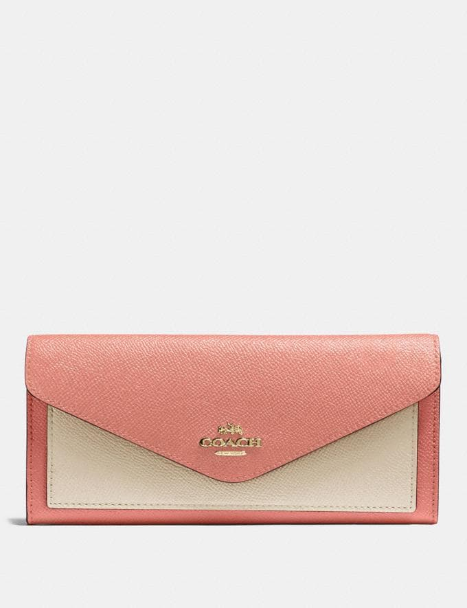 Coach Soft Wallet in Colorblock Light Peach Multi/Gold New Women's New Arrivals