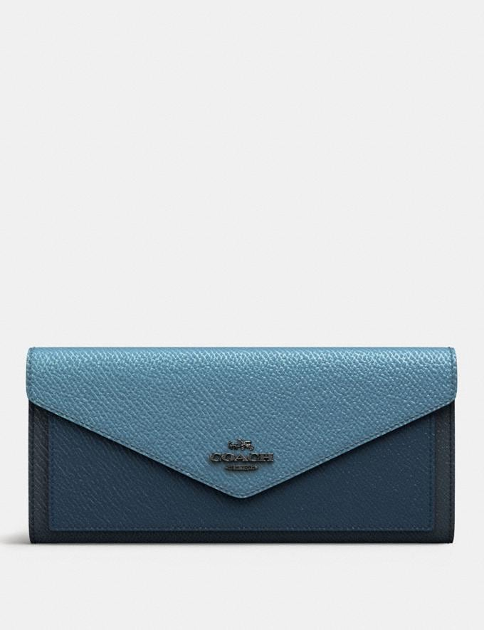 Coach Soft Wallet in Colorblock Slate Multi/Gunmetal Gifts For Her