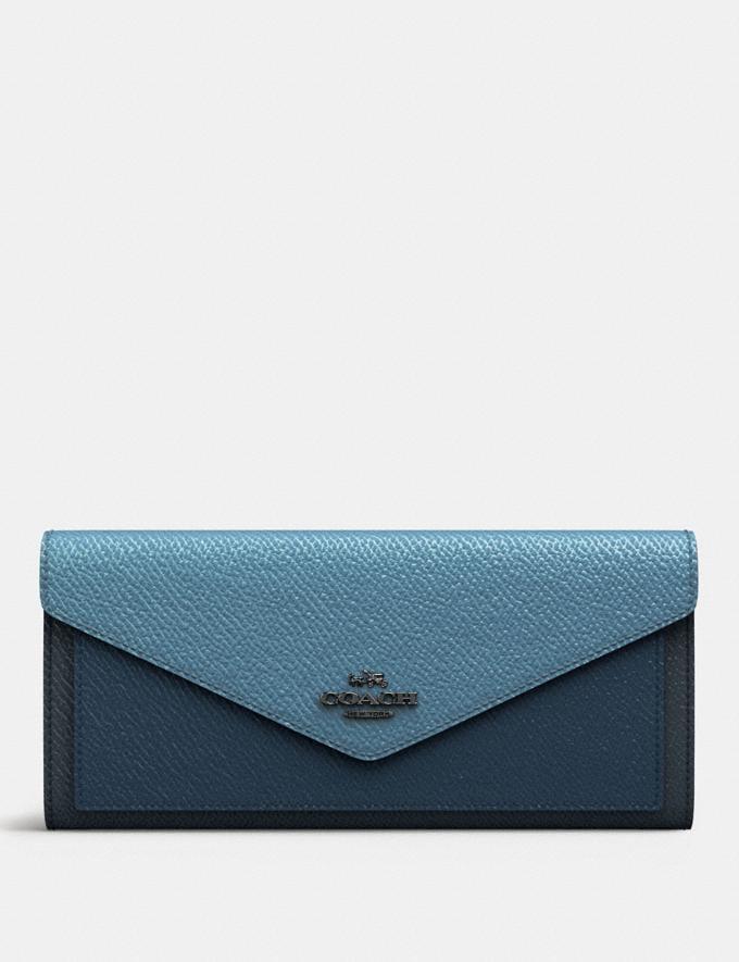 Coach Soft Wallet in Colorblock Slate Multi/Gunmetal SALE Women's Sale 50% off