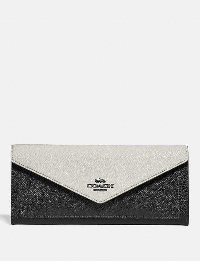 Coach Soft Wallet in Colorblock Black Multi/Gunmetal New Women's New Arrivals Wallets & Wristlets