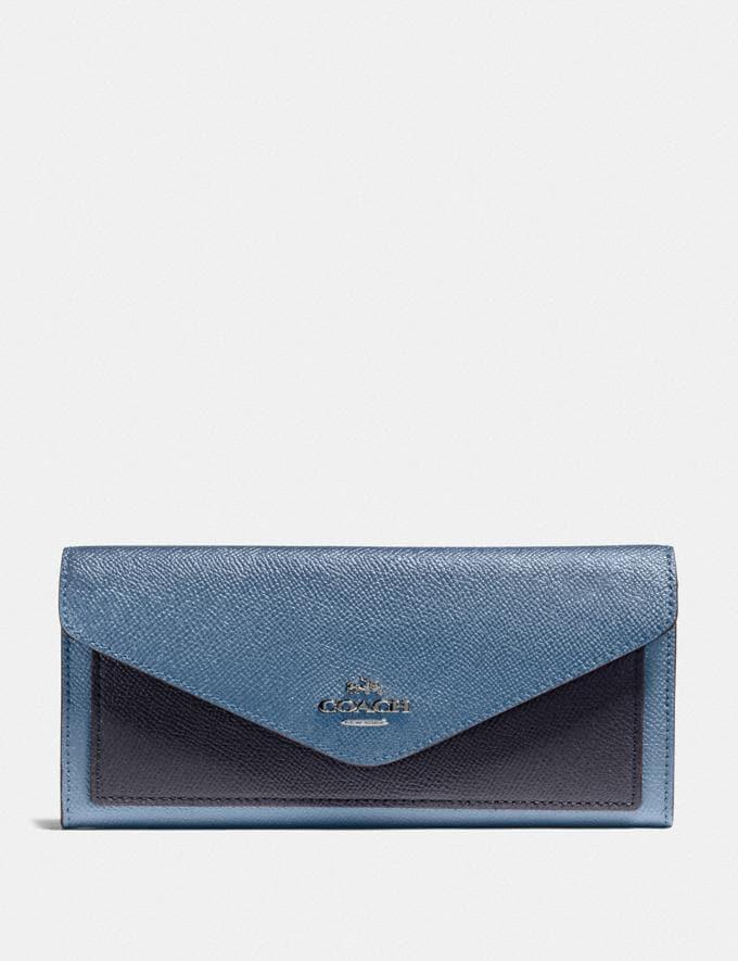Coach Soft Wallet in Colorblock Gunmetal/Stone Blue Multi Women Wallets & Wristlets Large Wallets