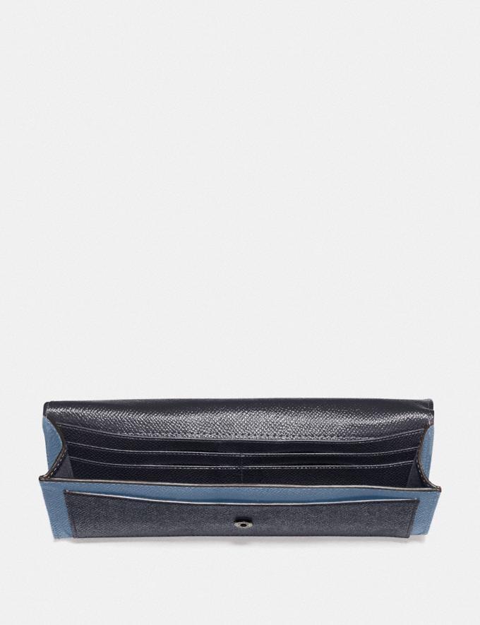 Coach Soft Wallet in Colorblock Gunmetal/Stone Blue Multi Women Wallets & Wristlets Large Wallets Alternate View 1