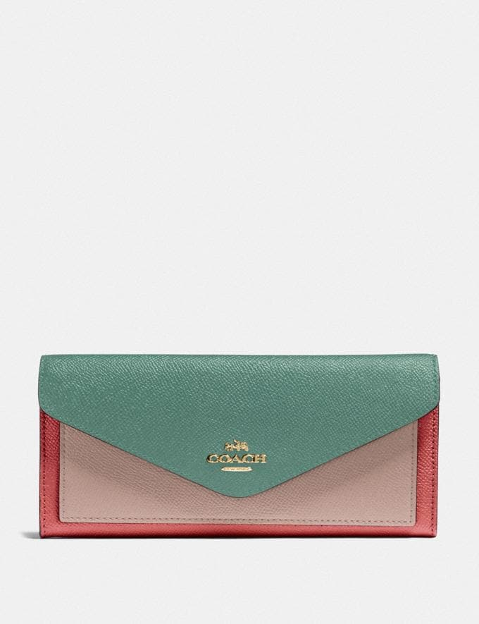 Coach Soft Wallet in Colorblock Lh/Washed Green Multi SUMMER SALE Sale Edits New to Sale New to Sale
