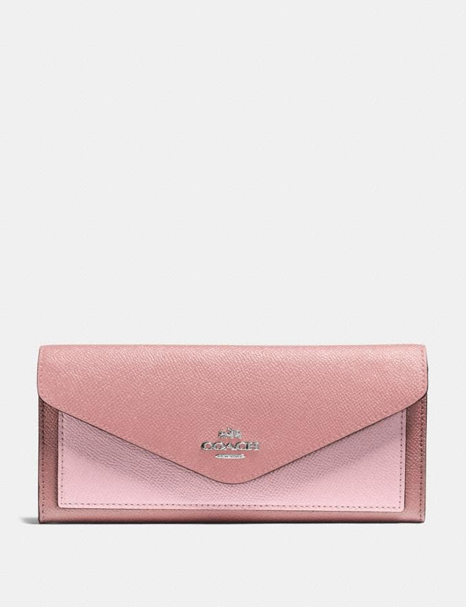Coach Soft Wallet in Colorblock Light Blush Multi/Silver New Women's New Arrivals Small Leather Goods