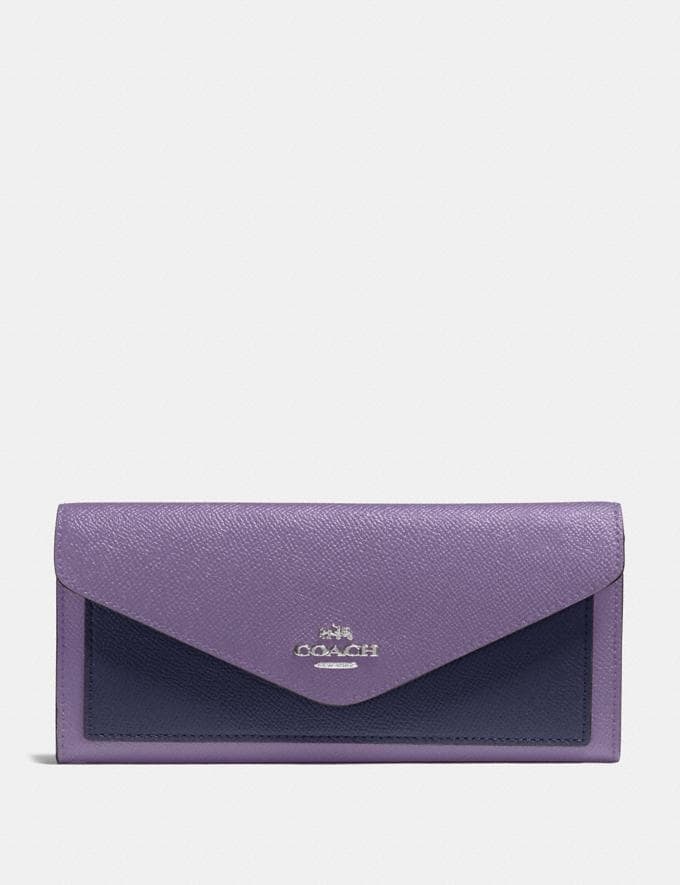 Coach Soft Wallet in Colorblock Dusty Lavender Multi/Silver New Women's New Arrivals Wallets & Wristlets