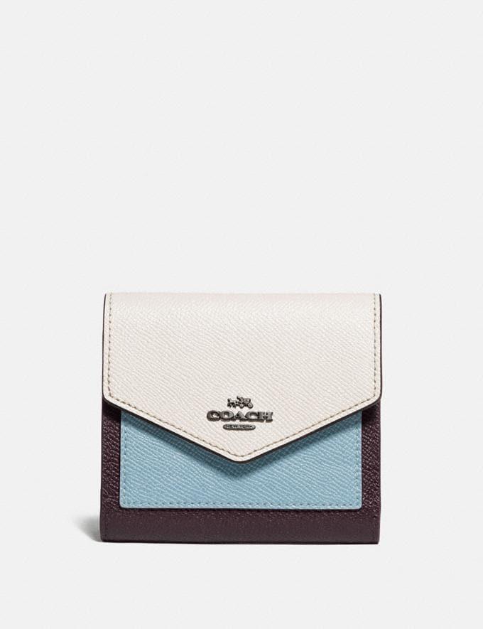 Coach Small Wallet in Colorblock Brass/Oxblood Multi Women Wallets & Wristlets Small Wallets