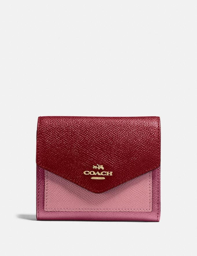 Coach Small Wallet in Colorblock B4/Taupe Ginger Multi Women Small Leather Goods Small Wallets