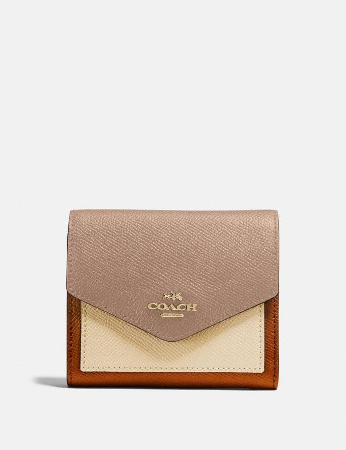 Coach Small Wallet in Colorblock Brass/Taupe Ginger Multi Women Small Leather Goods Small Wallets