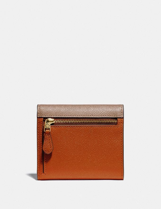 Coach Small Wallet in Colorblock Brass/Taupe Ginger Multi Women Small Leather Goods Small Wallets Alternate View 1