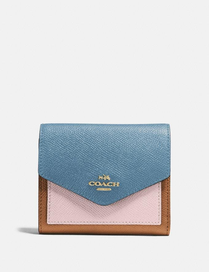 Coach Small Wallet in Colorblock Brass/Pacific Blue Multi Gifts For Her Under $100