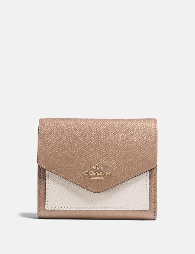Coach Small Wallet in Colorblock Brass/Taupe Multi Women Wallets & Wristlets Small Wallets