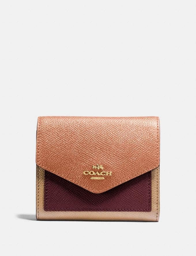 Coach Small Wallet in Colorblock Sunrise Multi/Gold Women Small Leather Goods Small Wallets